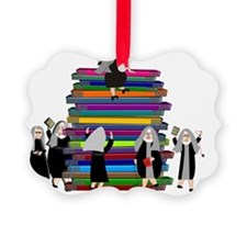 book stack nuns MULTIPLE Ornament