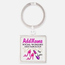 #1 SOCIAL WORKER Square Keychain