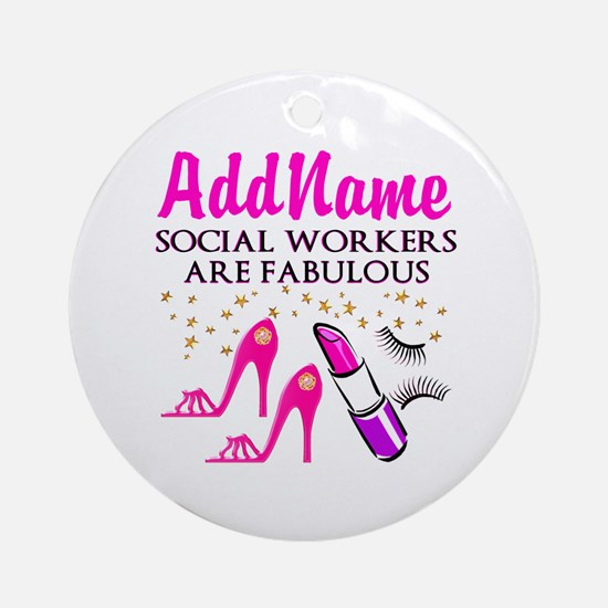 #1 SOCIAL WORKER Ornament (Round)
