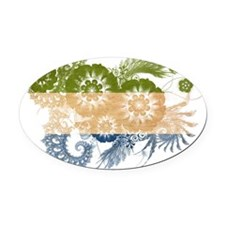 Sierra Leone textured flower Oval Car Magnet
