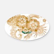 rhode island textured flower Oval Car Magnet