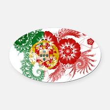 Portugal textured flower Oval Car Magnet