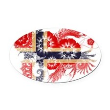 Norway textured flower Oval Car Magnet