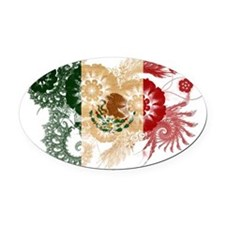 Mexico textured flower Oval Car Magnet