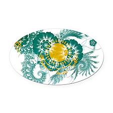 Kazakhstan textured flower Oval Car Magnet