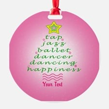 Custom Pink Dancer's Christmas Tree Round Ornament