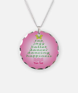 Custom Pink Dancer's Christmas Tree Necklace