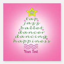 Custom Pink Dancer's Christmas Tree Square Car Mag