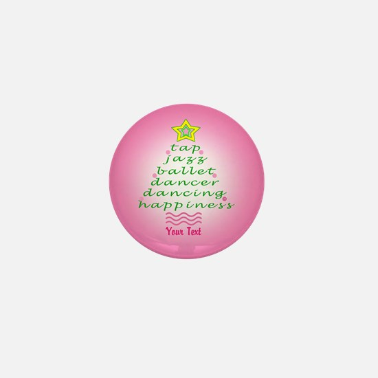 Custom Pink Dancer's Christmas Tree Mini Button