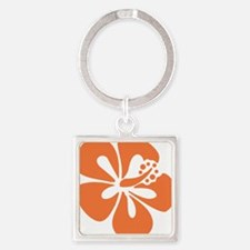 hibiscus-orange Square Keychain