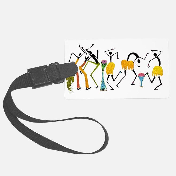 Tribal dance_white Luggage Tag