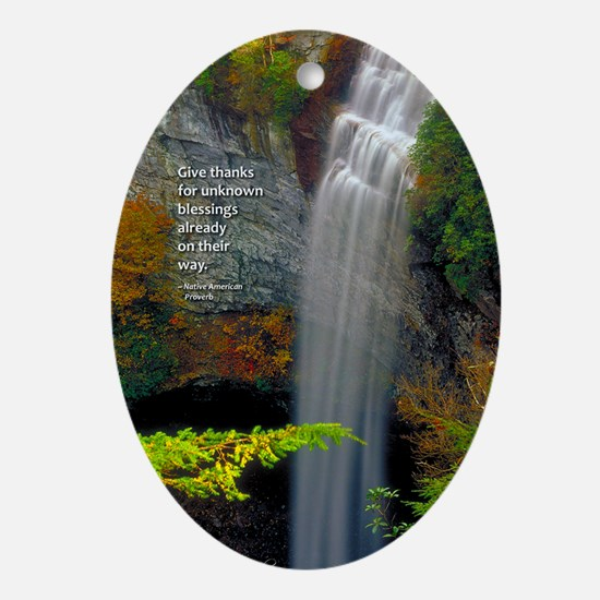 Waterfall Blessings Oval Ornament