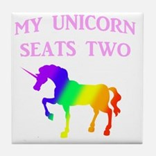 MY UNICORN SEATS TWO PINK Tile Coaster