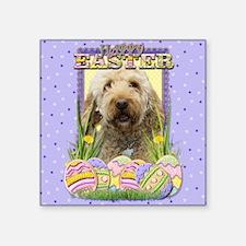 "EasterEggCookiesGoldenDoodl Square Sticker 3"" x 3"""