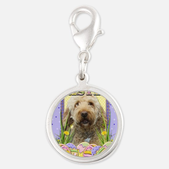 EasterEggCookiesGoldenDoodleCP Silver Round Charm