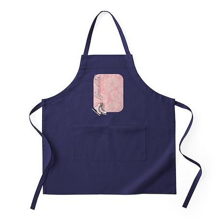 pink-damask-skates-curved Apron (dark)