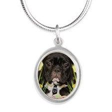 EasterEggCookiesFrenchBulldog Silver Oval Necklace