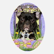 EasterEggCookiesFrenchBulldog Oval Ornament