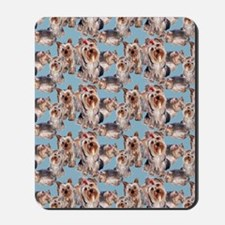 yorkie shower curtain blue Mousepad