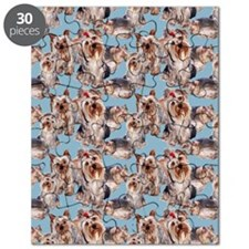 yorkie shower curtain blue Puzzle