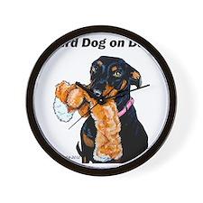 Doberman Pinscher Guard Dog Wall Clock