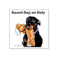 "Doberman Pinscher Guard Dog Square Sticker 3"" x 3"""