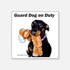 "Doberman Pinscher Guard Dog Square Sticker 3"" x 3"""