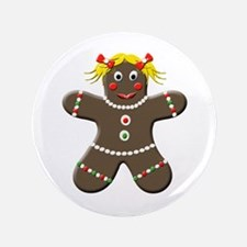 "Gingerbread Girl Christmas 3.5"" Button (100 pack)"