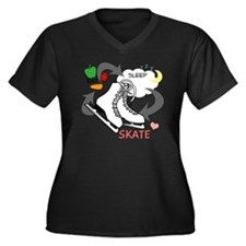 eat-sleep-sk Women's Plus Size Dark V-Neck T-Shirt