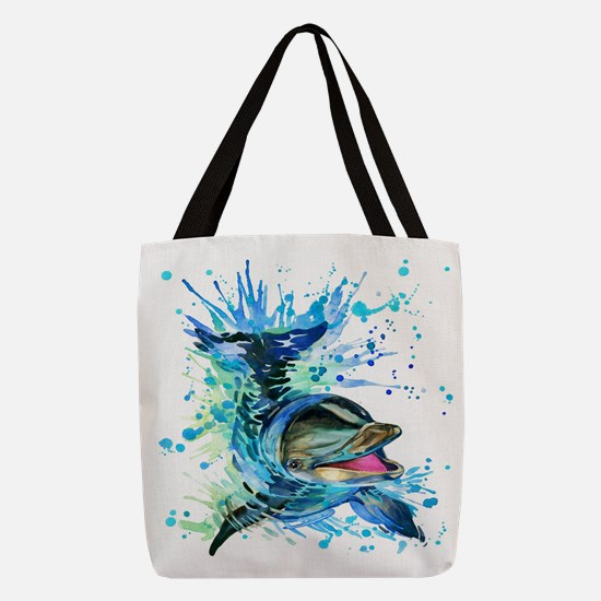 Watercolor Dolphin Polyester Tote Bag