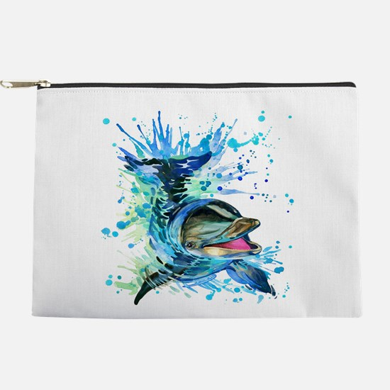 Watercolor Dolphin Makeup Pouch
