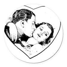 love_b+w Round Car Magnet