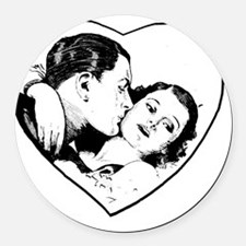 love_b+w Round Car Magnet