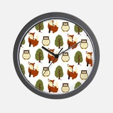 Fox and Owl Pattern Shower Curtain Wall Clock