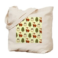 Woodland Fox and Owl Pattern Tote Bag
