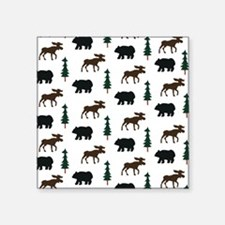 "Bear and Moose Pattern Square Sticker 3"" x 3"""