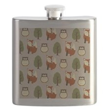 Fox and Owl Shower Curtain Flask
