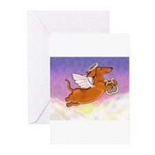Red Doxie Angel Greeting Cards (Package Greeting C