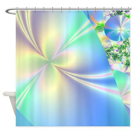 blue gifts blue bathroom d cor fractal babyblue 96x96 shower curtain
