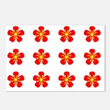 Red Floral 12 Designer Postcards (Package of 8)