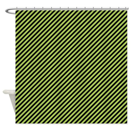 Green And Black Stripes Shower Curtain By ColorfulPatterns