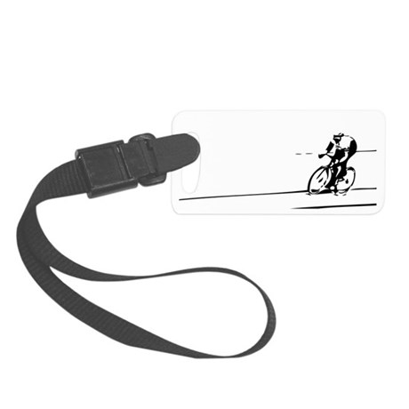 Cyclist Illustration Small Luggage Tag