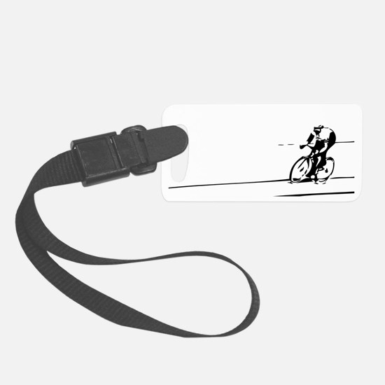 Cyclist Illustration Small Luggage Tag
