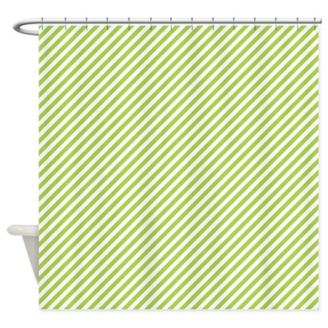 Green And White Stripes Shower Curtain By Colorfulpatterns