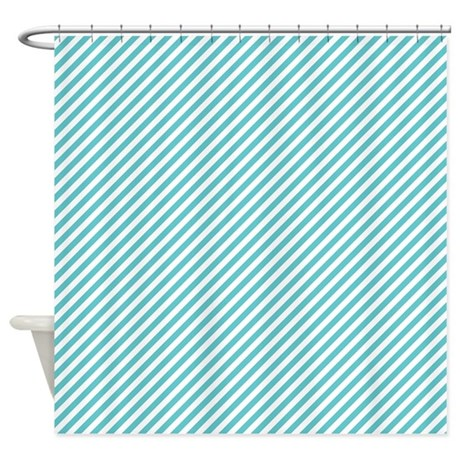 blue and white stripes shower curtain by colorfulpatterns