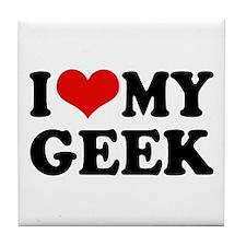 I Love My Geek Tile Coaster
