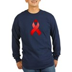Red Awareness Ribbon Long Sleeve Dark T-Shirt