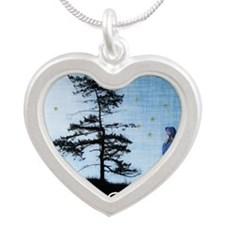 Merry Solstice Silver Heart Necklace