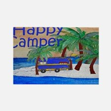 Island Palms Happy Camper Rectangle Magnet