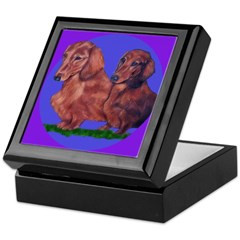Long Haired Dachshunds Keepsake Box